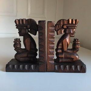 Vintage Carved Wooden Bookends